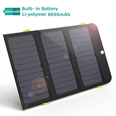 GIARIDE 21W Cargador Solar portátil Carga rápida 3 USB 6000mAh Batería SunPower Panel Solar Banco Plegable de energía para iPhone X / 8/7/6 / Plus, ...