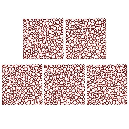 Koziol Set of 5 Oxygen Square Room Divider Ornament, Plastic, Tabacco/Brown (Circle Design)