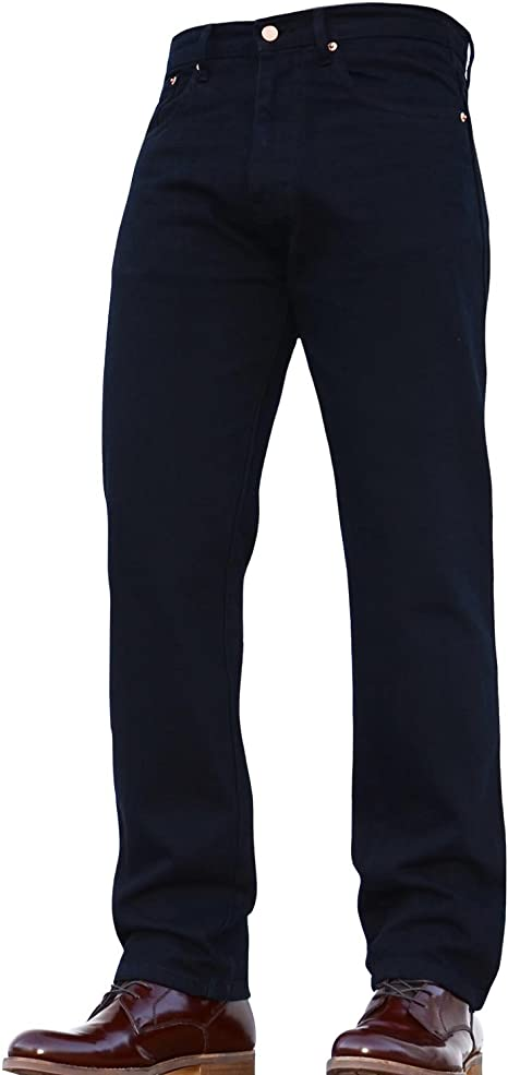 Mens Heavy Duty Tough Regular Fit Straight Jeans Quality Hard Wearing NEW