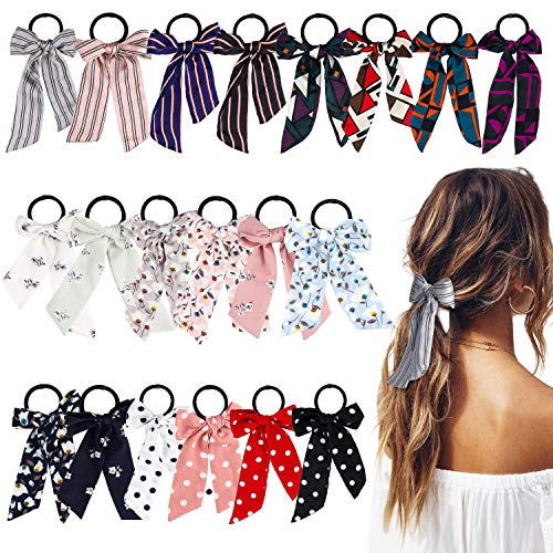 - WATINC 20 Pcs Bowknot Hair Scrunchies Chiffon Floral Hair Ties Silk Satin Scarf Ponytail Holder with Bows Classic Stripe Dot Scrunchy Accessories Ropes for Women