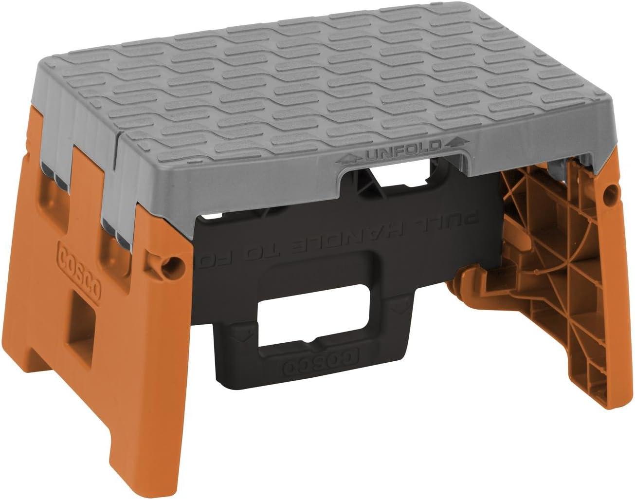 COSCO 1 Step Molded Folding Step Stool, Type 1A, Black, Orange, and Gray