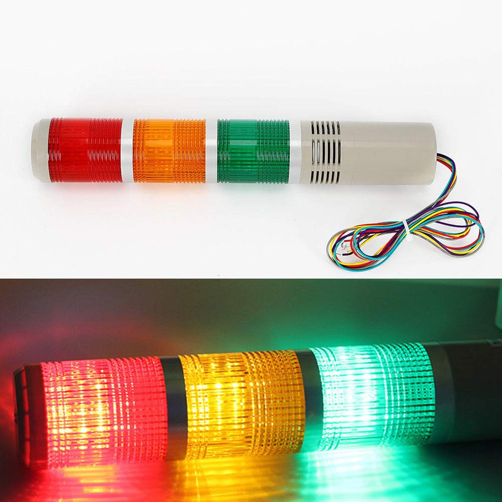 Industrial Signal Light Column LED Alarm Round Tower Light Indicator Flash Light Warning Light Buzzer Red Green Yellow by US DELIVER