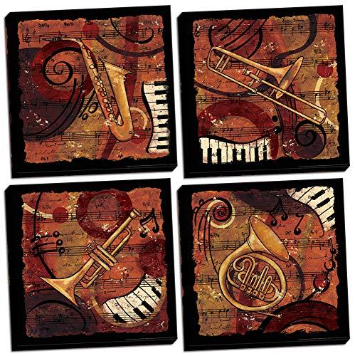 Gango Home Decor Jazz Music I Classic, Retro Trumpet, Sax, Trombone Band; Four 12 by 12-Inch Black Framed Prints; Ready to Hang! - Jazz Retro Music