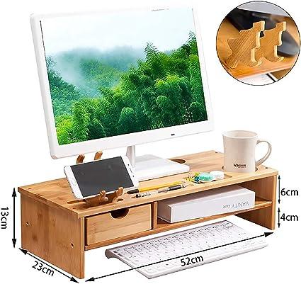 avec Espace de Stockage de Clavier-E ASDFGH Office Bois Massif Support de Moniteur Support ecran Bois Ordinateur Monitor Stand Organisateur de Bureau avec tiroir