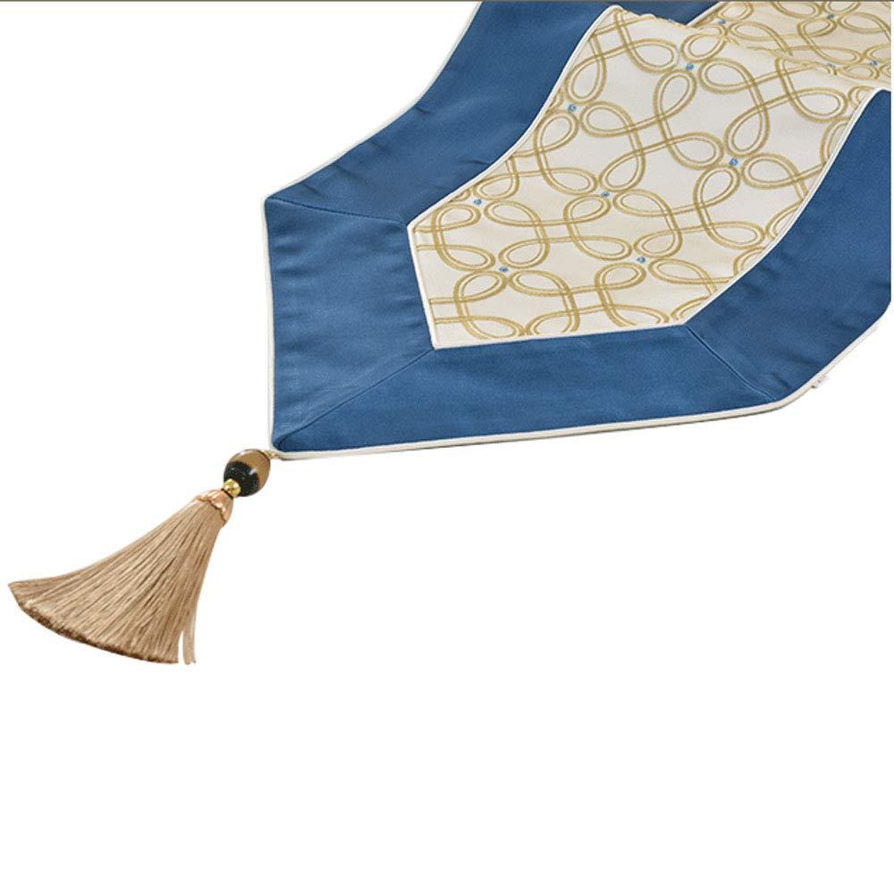 Jian E- テーブルランナー - ヨーロッパの高級刺繍ダイニングテーブルテーブルの旗のリビングルームの家具の装飾高級新中国のコーヒーテーブルのテーブルクロスの茶旗(青) (サイズ さいず : 33x280cm) 33x280cm  B07PR18SYM