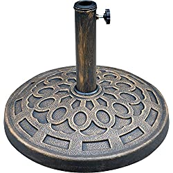 "LCH 19.5"" 29 lbs Patio Umbrella Base Stand Holder, Rust Free Resin, Antiqued Bronze Finish"