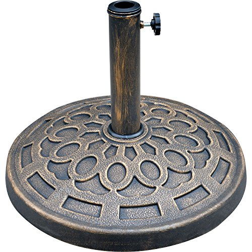 """LCH 19.5"""" 29 lbs Patio Umbrella Base Stand Holder, Rust Free Resin, Antiqued Bronze Finish"""