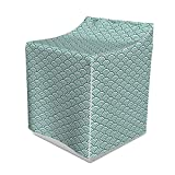 Ambesonne Teal Washer Cover, Traditional Japanese Chinese Seigaiha Pattern Abstract Scales Inspirations, Decorative Accent for Laundromats, 29' x 28' x 40', Jade White