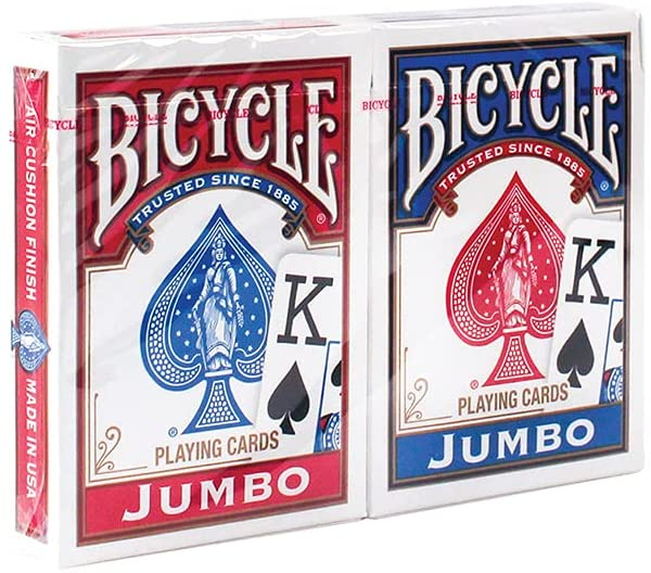 Two decks of playing cards with blue and red design