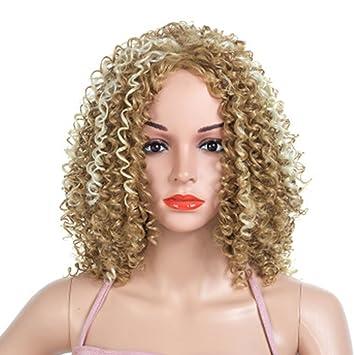 Teñido Pequeño Pelo Corto Rizado Pelucas Femeninas Moda Fluffy Explosivo Cabeza Sombrero de Oro Fiesta de