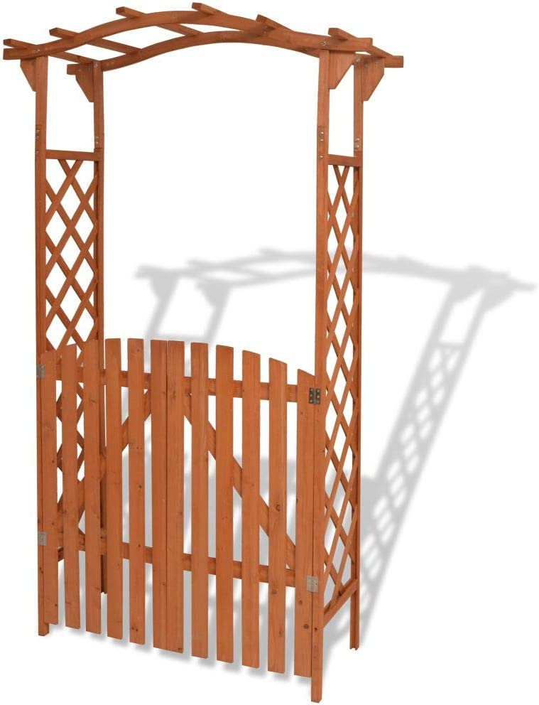 Unfade Memory Trellis Rose Garden Arch Pergola Arbors with Gate Solid Wood Outdoor Patio Gate 47.2