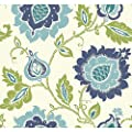 York Wallcoverings EB2033 Carey Lind Vibe Jaco Floral Wallpaper, Eggshell White/Smoky Dark Blue/Robin'S Egg Blue/Aqua/Lime Green,