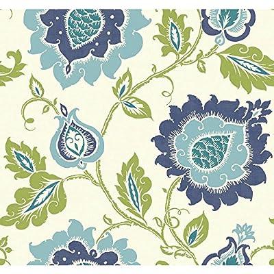 York Wallcoverings EB2033 Carey Lind Vibe Jaco Floral Wallpaper, Eggshell White/Smoky Dark Blue/Robin'S Egg Blue/Aqua/Lime Green,