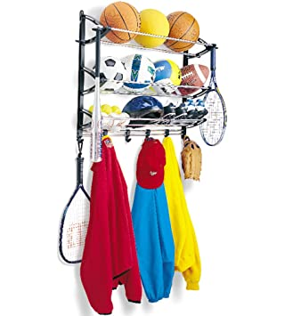 Lynk Sports Rack With Adjustable Hooks   Sports Equipment Organizer   Sports  Gear Storage