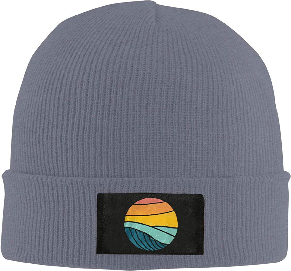 100/% Acrylic Daily Beanies Cap Unisex Vintage Sea Wave On Sunset Knitted Hat
