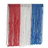 Juvale 72-Piece Mardi Gras Bulk Beads Set for Outfit Costume Wear, Games, Decoration, Party Favors, Red, White, Blue Colors