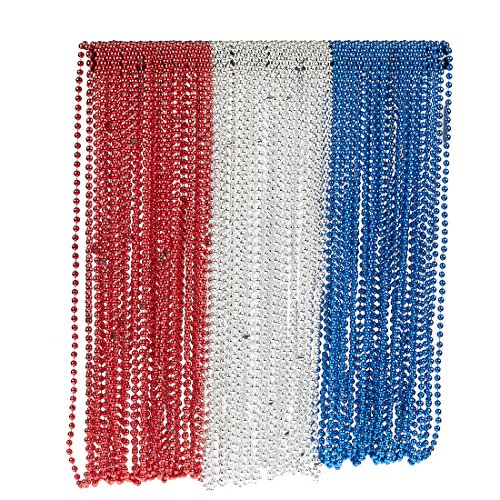 (Juvale 72-Pack 32-Inch Party Costume Bead Necklaces for 4th of July, Independence Day, Mardi Gras, Red, White-Silver and Blue)