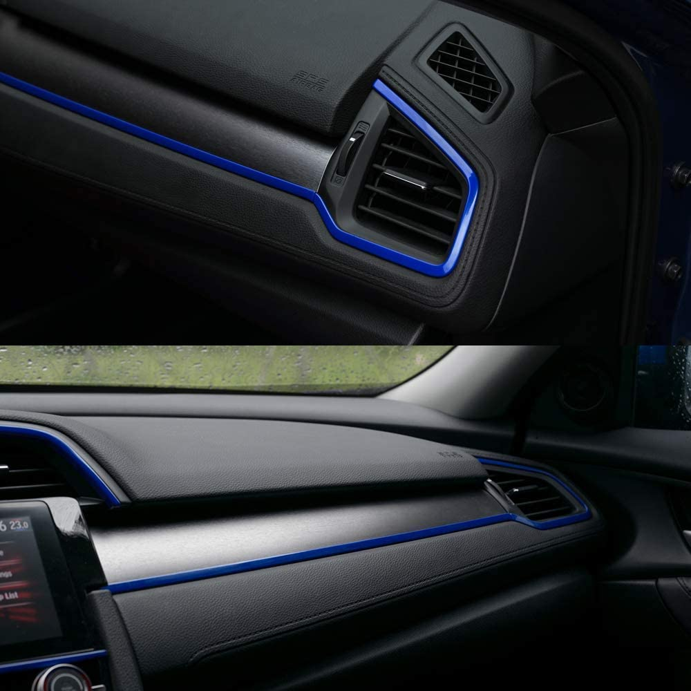 L/&U 4pcs Centro Consolas Panel del Tablero de Instrumentos Pegatinas Recorta Tiras Calcoman/ías Interior para 10 de Gen Honda Civic 2016-2019,Azul