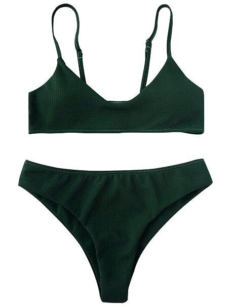 31d76e29ac007 ZAFUL Women s High Cut Bralette Bikini Bottom Two Piece Swimwear Bikini Set  (Green