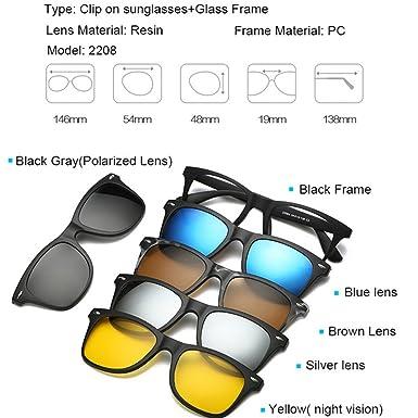 Amazon.com: Magnetic 5Pcs Polarized Clip-on Sunglasses Plastic Frame ...