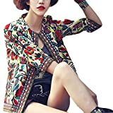 #9: Buenos Ninos Women's 3/4 Sleeve Ethnic Cardigan Printed Flyaway Jacket Coat