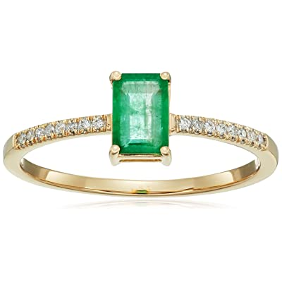 0.54 Carat Genuine Emerald & White Diamond 14K Yellow Gold Ring
