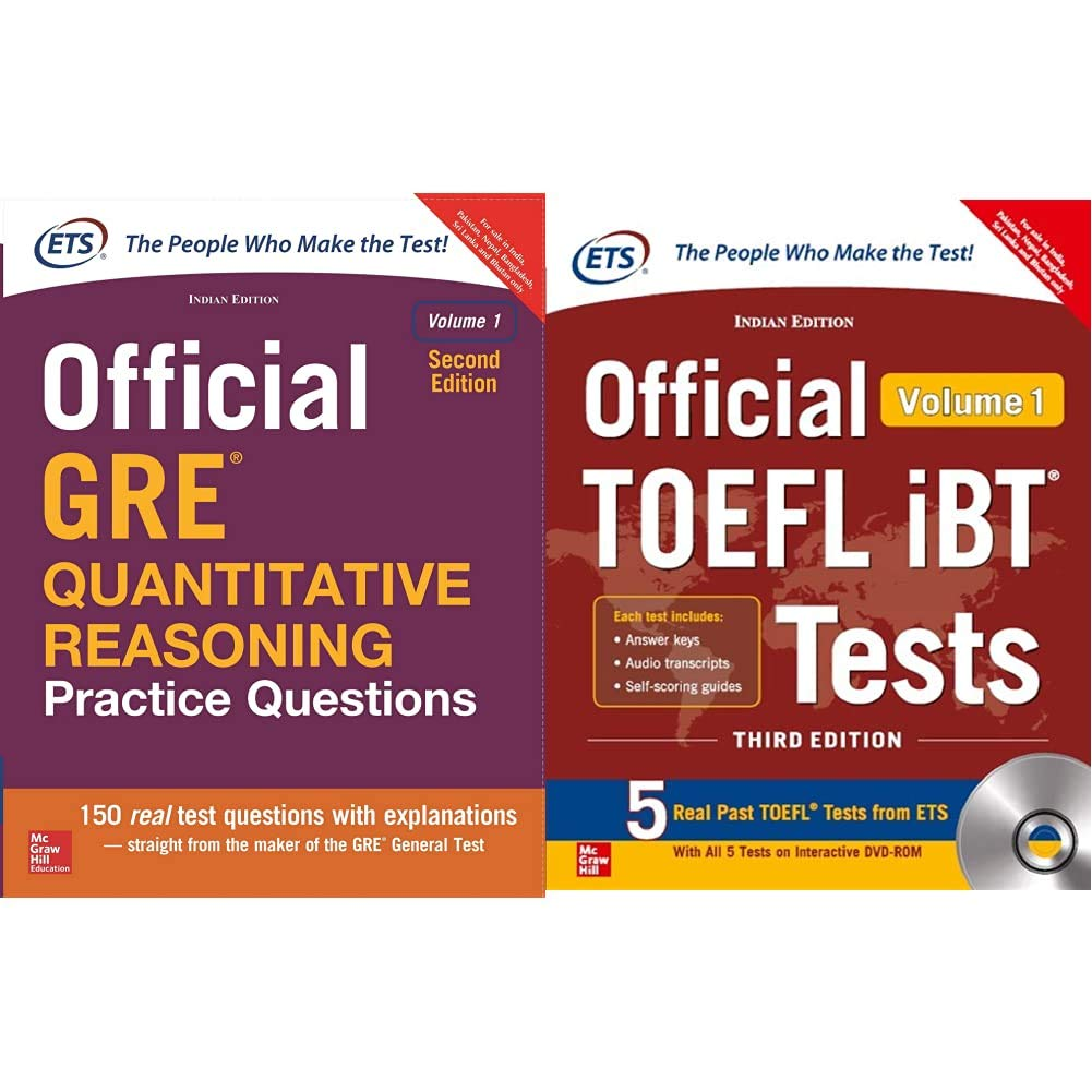 Official GRE Quantitative Reasoning Practice Questions + Official TOEFL iBT Tests Volume I W/DVD(Old Edition) (Set of 2 Books)