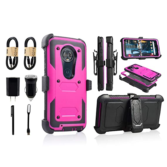 for Moto G6, Motorola G6 16gb 32gb Phone Case with Built in Screen Protector Shockproof Armor Hard Case Kickstand Holster Belt Clip [Value Bundle] ...