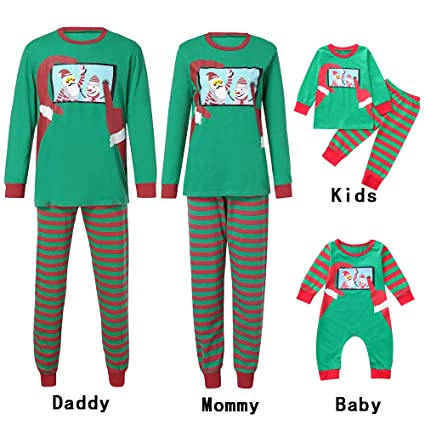 Btruely Navidad Familia Conjunto Pantalon y Top Fiesta Manga Larga Trajes Navidad niños Pijama Dos Piezas Mujer Hombre Niños Niña Ropa de Dormir para Bebés ...
