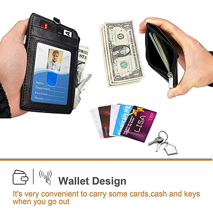 Leather Badge Holder with Lanyard Double Sided Badge ID Card Holder with 4  Card Slots, 1 Side RFID Blocking Pocket, 1 Cash Slot for Offices ID,School
