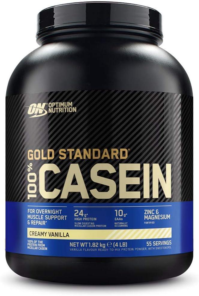 Optimum Nutrition Gold Standard Casein, Proteinas de Caseina en Polvo con BCAA Aminoacidos Esenciales, Zinc y Magnesio en Polvo, Vainilla, 55 ...
