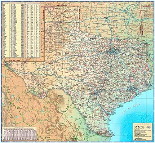 (Texas Wall Map - Laminated 39w x 36h)