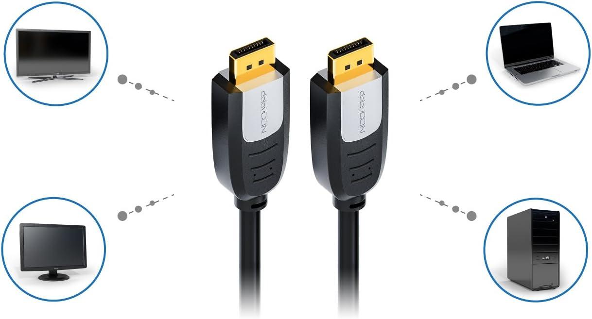 20 Pin Carte Graphique pour Moniteur Dordinateur Portable Mac M/âle deleyCON 2m C/âble DisplayPort vers DisplayPort Full HD 1080p 3D HDCP DP 20 Pin M/âle /à DP