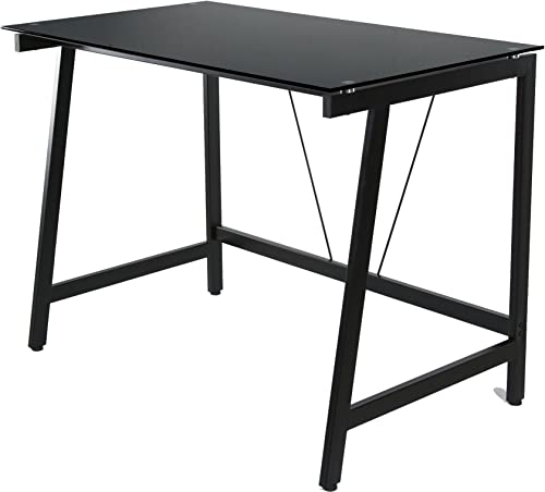 OneSpace Contemporary Glass Writing Desk, Steel Frame, Black