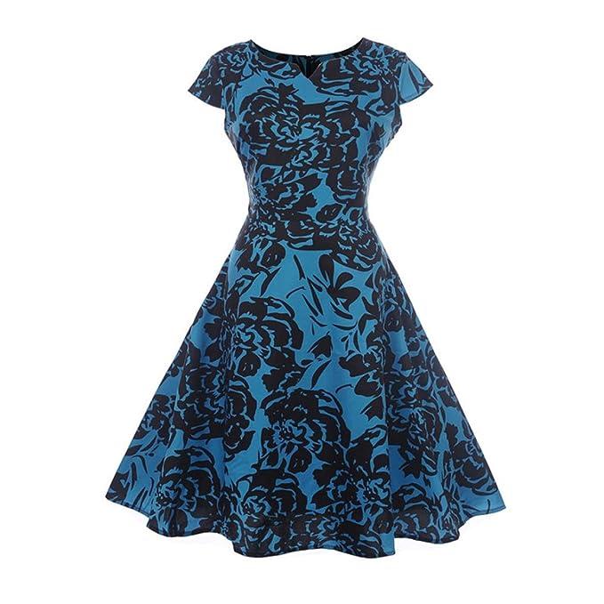 Damen Knielang Kleider Kanpola Vintage Retro Rockabilly Hepburn Stil