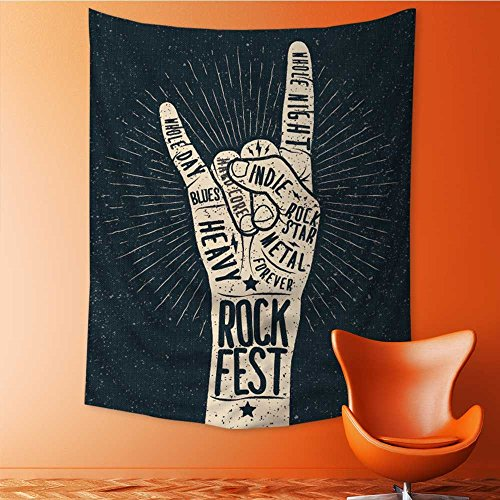 Styled Poster Bed - Art Hippie Tapestry rock festival poster flyer vector hand draw styled illustration Bedspread Picnic Bedsheet Tapestry 40W x 60L Inch