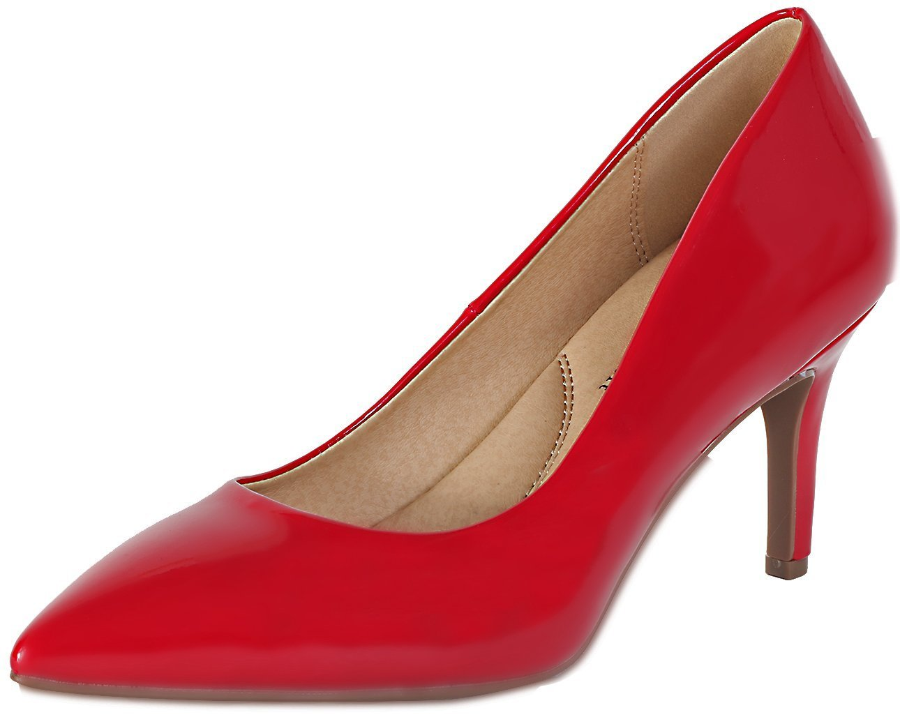 City Classified Comfort Coen-h Medium High Heel Pointy Toe PumpSuper Cushioned Memory Foam Inner Sole Red Patent 8
