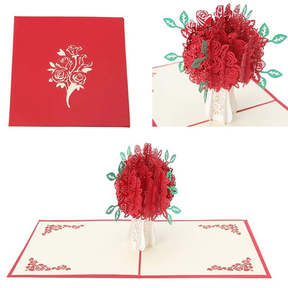 Bluelans® Big Rose 3D Pop UP Greeting Cards Fantastic Flower ...