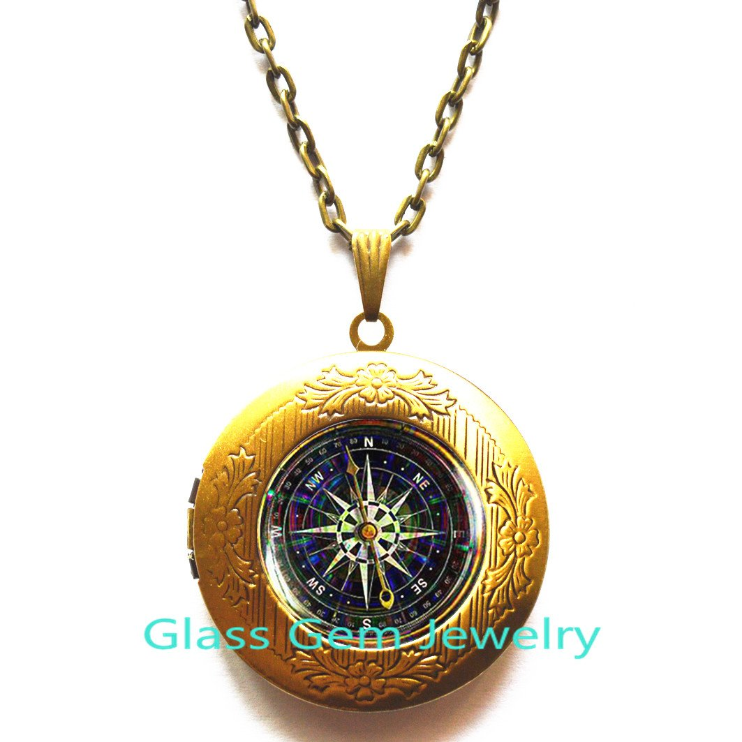 Voyage Steampunk Locket Necklace Traveler gift NOT REAL compass,Q0065 Old compass Locket Pendant Black Compass Locket Necklace compass Locket Necklace