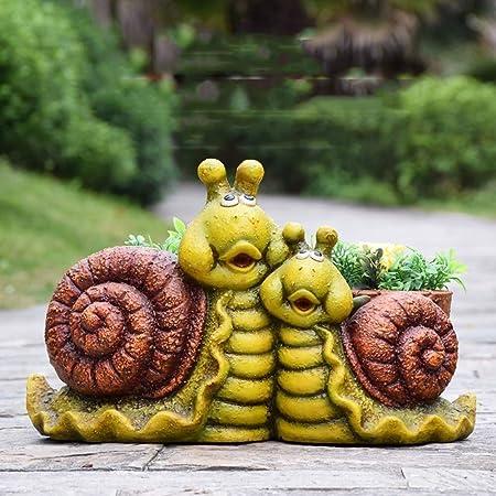 Mlzaq Adornos de jardín al Aire Libre de la Tortuga Caracol Tiesto en Maceta de Resina Impermeable Estatua del jardín de la Yarda del césped del Paisaje decoración Hace el Regalo: Amazon.es: