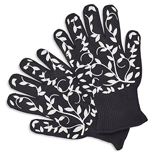 Sur La Table Floral Vine Oven Gloves 404685 Yellow   Set Of 2  Black