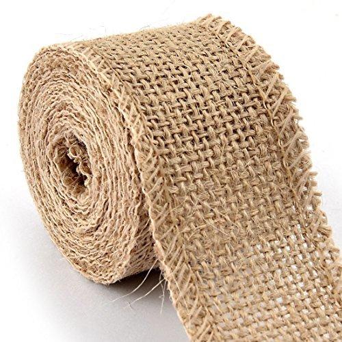 DealMux serapilheira Gift Tags Belt seqncia cinta Crafting juta rolo de fita 2,2 Yards Bege