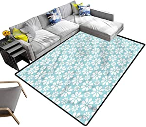 Turquoise and White, Rug Pad Daisy Flowers Super Soft Area Rugs Bedroom Mats No Chemical Odor, 6.5'x 10'