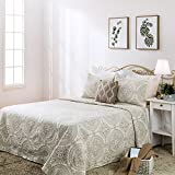 Elegant Life 100% Cotton Reversible Medallion Solid Embroidery Bed Quilt Comforter, King Size (108''x 95''), Ivory