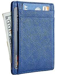RFID Front Pocket Wallet Minimalist Wallet Slim Wallet Genuine Leather