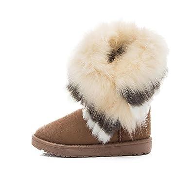 Damen Modischen Winter Warmen Schnee Flachen Knöchel Pelz Schnee Stiefel Schuhe (36, Braun) Oyedens