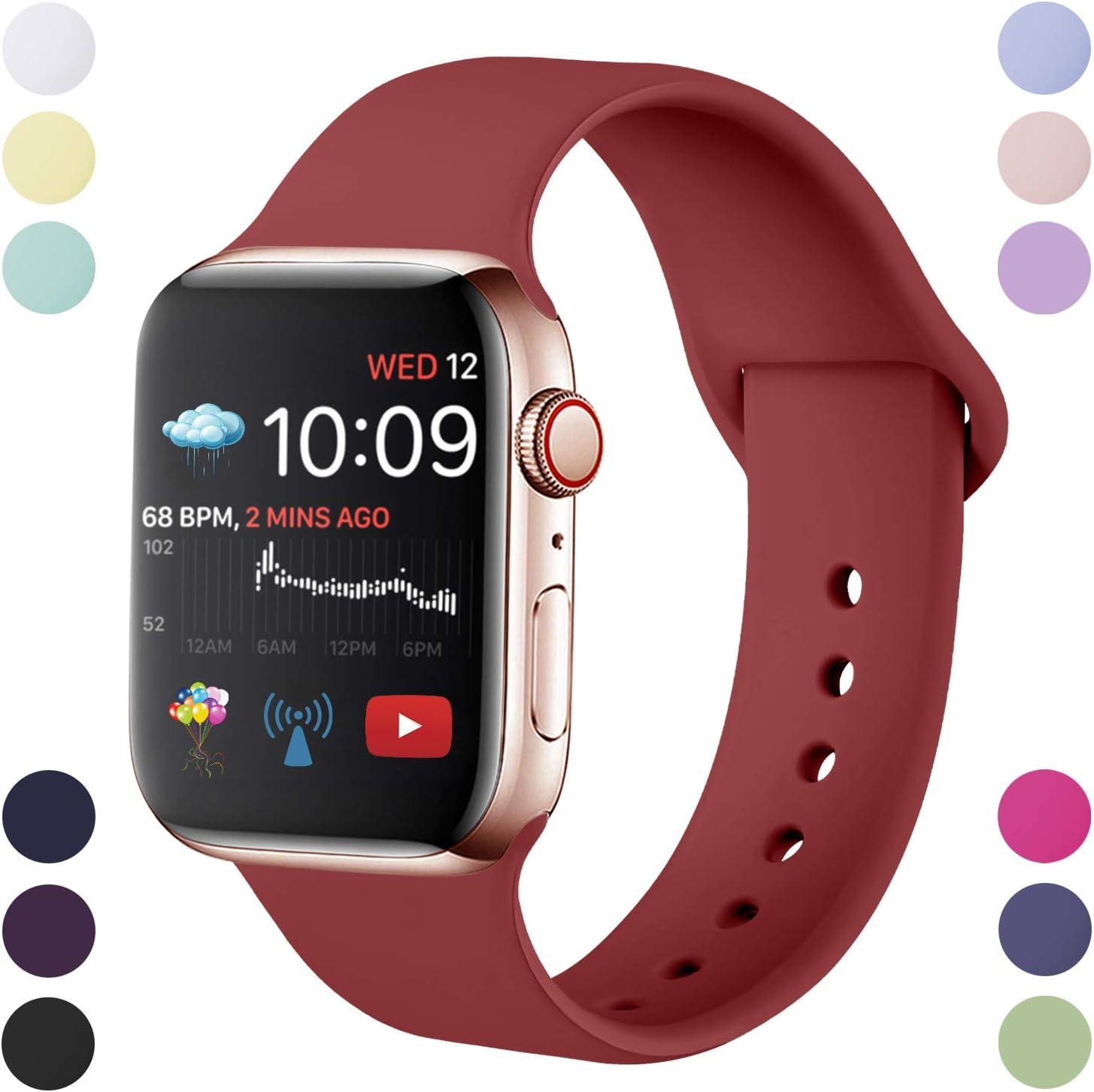 Hamile Correa Compatible con Apple Watch 38mm 42mm 40mm 44mm, Correa de Repuesto de Silicona Suave para iWatch Series 5/4/3/2/1, S/M, M/L