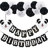 Panda Birthday Decorations,Happy Birthday Decorations,Black and White Happy Birthday Banner, Panda Paper Lanterns,Pom Poms for Birthday Decorations, Birthday Party, Baby Shower Party Supplies(DIY)