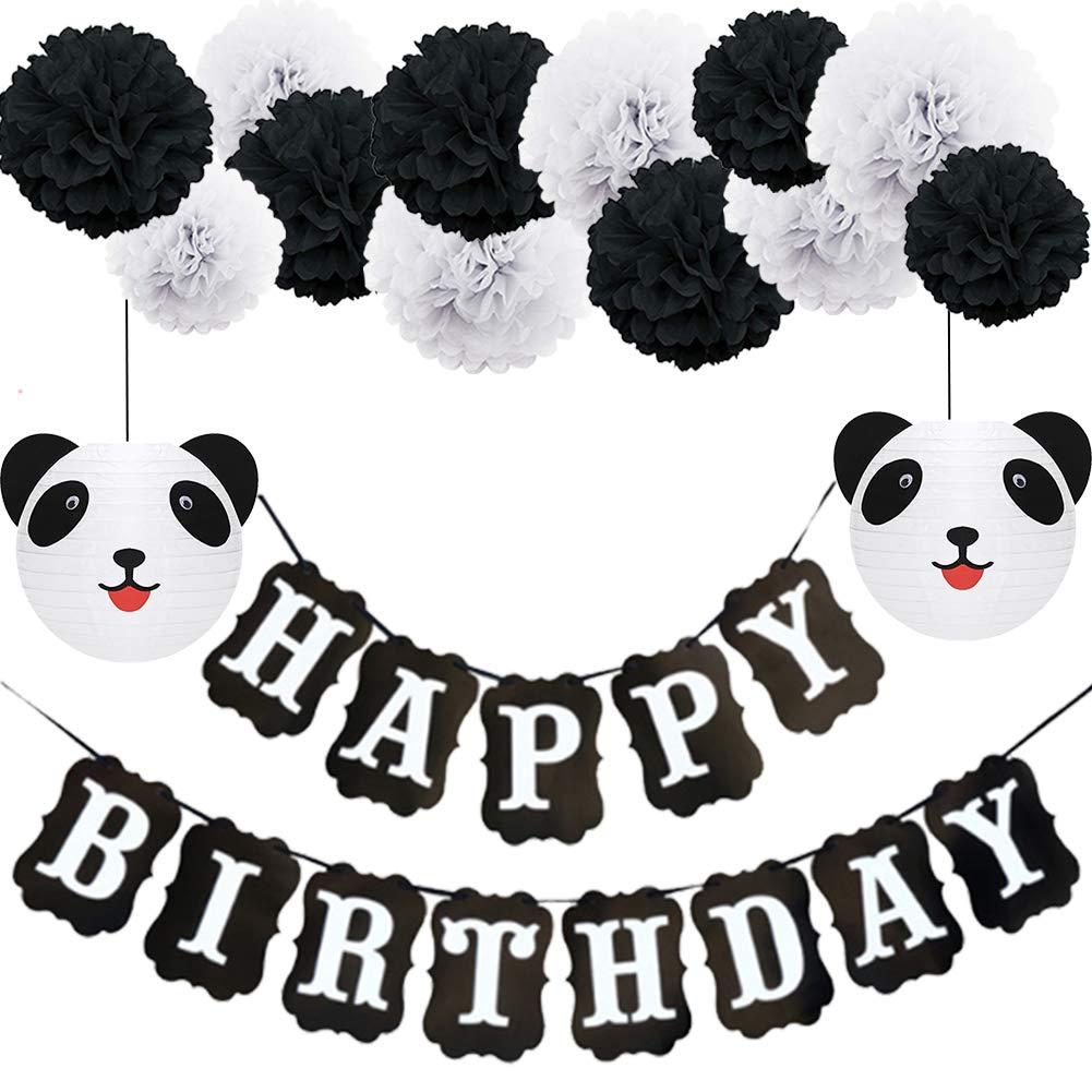 Panda Birthday Decorationshappy Birthday Decorationsblack And White Happy Birthday Banner Panda Paper Lanternspom Poms For Birthday Decorations