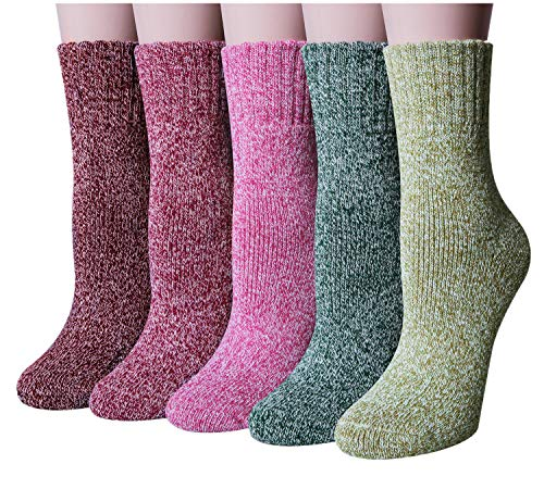 YSense 5 Pairs Womens Knit Warm Casual Wool Crew Winter Socks (fits shoe size 5-8) (Style 2(5 pack))]()